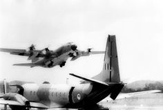 RNZAF Andover aircraft with RAAF C130E Hercules aircraft