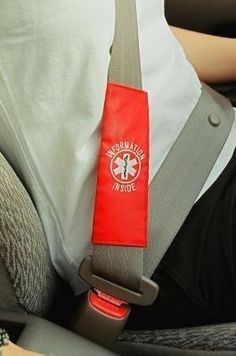 Rescue Facts Medical ID Seatbelt Strap, http://www.amazon.com/dp/B00C2SL70U/ref=cm_sw_r_pi_awdl_9yO1ub08WAV93