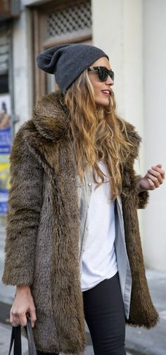 Faux Fur Jackets! Sport a fur jacket like a pro this season by layering your favorite basics underneath with denim or leather leggings! Add a cute hat and booties to complete your look!