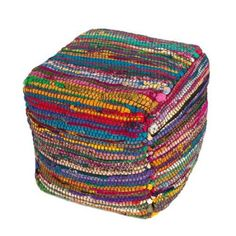 "16"" Hot Pink and Rainbow Multi-Colored Moroccan Striped Sari Silk Square Pouf Ottoman"