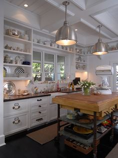 Kitchen - open shelves, butcher block island