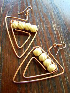 Arrowhead earrings carved bone and copper earrings by gypsiirose, $27.00