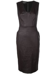 Narciso Rodriguez V-neck fitted dress - Brown Church Outfits, Church Clothes, Work Clothes, Narciso Rodriguez, Mid Length, Women Wear, Bodycon Dress, V Neck, Silk