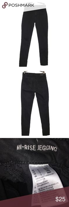 American Eagle Hi-Rise Jegging 2S Black super stretch hi-rise begging. VERY COMFORTABLE! I wish I could keep them but they are simply too big. Still in great condition. Also a size short for those petite ladies! American Eagle Outfitters Jeans Skinny