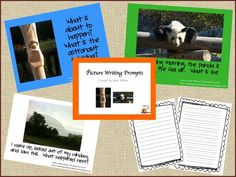 Picture Writing Prompts Packet - 6 writing prompts on a colored background, same 6 on white background, suggestions for using in a classroom, writing paper for different grade levels