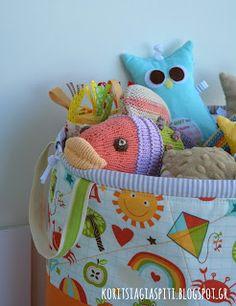 "Fabric bucket, toys storage with drawstring. Riley Blake ""School Days"""
