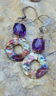 Check out this item in my Etsy shop https://www.etsy.com/listing/294236435/flame-painted-copper-earrings-amethyst