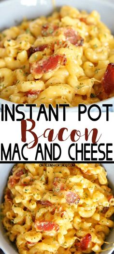 Instant Pot Bacon Mac and Cheese is a quick & easy pressure cooker dinner recipe. Instant Pot Bacon Mac and Cheese is a quick & easy pressure cooker dinner recipe that is ready in just 10 minutes of cook time. This is a family favorite! Instant Pot Pasta Recipe, Instant Pot Dinner Recipes, Easy Dinner Recipes, Easy Bacon Recipes, Instant Recipes, Salmon Recipes, Cheese Recipes, Dessert Recipes, Mac N Cheese Bacon