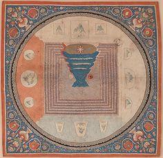 A fourteenth-century Chinese silk tapestry (kesi) cosmological mandala with Mount Meru; symbolic details include a lotus, a three-legged bird and a rabbit. (Metropolitan Museum of Art)