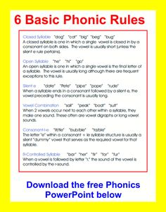 Phonic Rules, RTI (Response to Intervention) This is good to have around just in case you forget