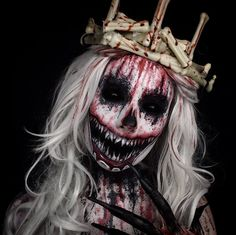 Old Bloody Bones rawhead makeup costume crown horror scary blood gory Halloween boogeyman IG @TheTrashmask
