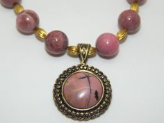 Long Natural Rhodonite & Brass Pendant & hand-made Rhodonite bead Necklace in Jewellery & Watches, Handcrafted Jewellery, Necklaces & Pendants | eBay