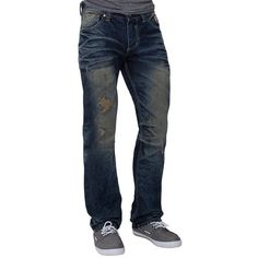 Limited Edition Affliction Ace Jean ($100) ❤ liked on Polyvore featuring men's fashion, men's clothing, men's jeans, blue, mens blue jeans, mens zipper jeans, mens loose fit jeans, mens relaxed boot cut jeans and mens relaxed fit jeans