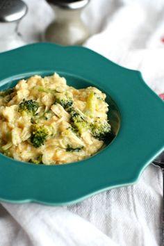 A creamy, cheesy slow cooker recipe - cheesy broccoli chicken rice made gluten free and dairy free.
