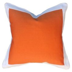 Barclay Butera Crisp Cotton-Blend Pillow, Orange, A crisp, white border and matching piping frames this pillow's tangerine center. A feather-and-down fill keeps the pillow fluffy and inviting. Pantone Orange, Pantone Color, Inviting Home, Goose Feathers, Orange Pillows, Orange Is The New Black, Color Of The Year, Backrest Pillow, Home Staging