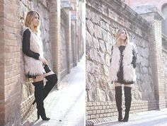 ABOUT LOVE  Fur vest with over the knee boots outfit fashion blogger street style