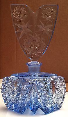 # Vintage-Blue-Cut-Crystal-Czechoslovakian-Perfume-Bottle-w-V-Shaped-Stopper