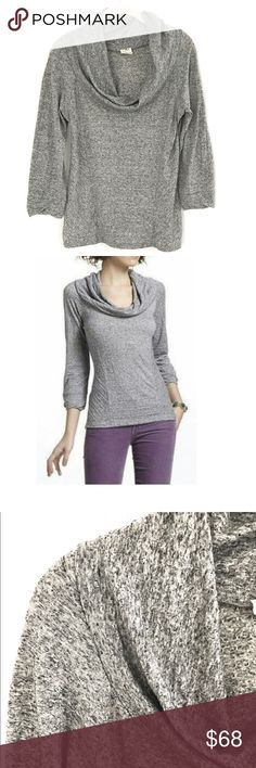 """One September Yorkshire Cowl Neck Top Gorgeous grey textured sweater, like new condition.  Casual cool look.  Called the Yorkshire cowl neck.  Made for Anthroplogie. 3/4 length sleeves. Poly, linen, and spandex. Bust 17.5"""" Waist 16"""" Hip 18.5"""" Anthropologie Sweaters Cowl & Turtlenecks"""