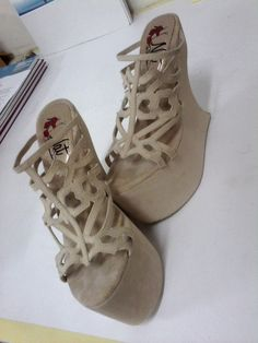 cream wedges shoes for sell. 38-39. 15cm. #gagawedges #beehaveornament