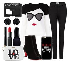 """""""breakfast in nyc"""" by j-n-a ❤ liked on Polyvore featuring Surratt, NARS Cosmetics, Moschino, Alice + Olivia, Paige Denim, Christian Louboutin and Casetify"""