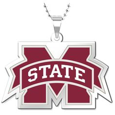 """Mississippi State Bulldogs 18"""" Solid Sterling Silver Necklace with 1"""" Logo Pendant - $63.99"""
