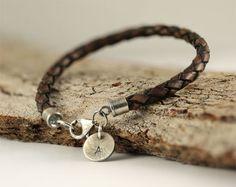 Personalized bracelet, hand stamped bracelet, leather bracelet, sterling silver bracelet, charm bracelet, leather jewelry, sylviaartgallery on Etsy, $52.35