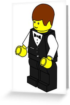 """""""Waiter Minifig by Customize My Minifig"""" Greeting Cards & Postcards by ChilleeW 