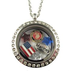 FCL Designs - Marine Corps Theme Floating Charm Locket Necklace * For more information, visit image link.