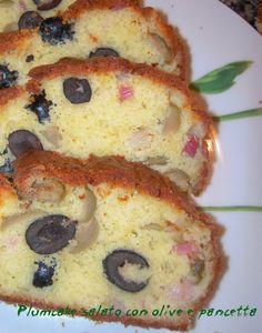 Plum cake salato con olive e pancetta | una manu in cucina