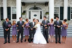 Charcoal gray suits or slacks, purple ties for groomsmen then black tux for groom? Looks great with the purple bridesmaid dresses. Purple Wedding, Wedding Colors, Dream Wedding, Charcoal Gray Suit, Gray Suits, Men's Suits, Groomsmen Grey, Legrand, Double Wedding