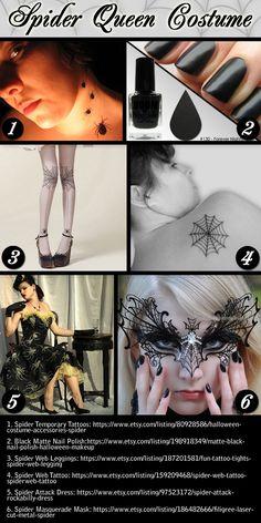 Spider queen costume inspiration board.  #Halloween #costume #ideas #spider #queen #black widow #spiders #Halloween2014