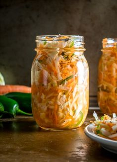 Here's an easy recipe for a batch of Curtido, a lightly fermented cabbage slaw common in Central America. Using a jalapeno gives it some real zip! Source by jim_pekarek Authentic Mexican Recipes, Mexican Food Recipes, Ethnic Recipes, Authentic Food, Slaw Recipes, Cabbage Recipes, Healthy Recipes, Vegetarian Recipes, Fermented Cabbage