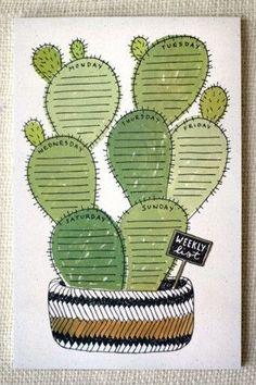 Cactus Weekly List Notepad