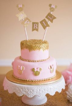 Minnie Mouse Cake Topper ~ Pink and Gold Party ~ First Birthday Pink and Gold~ Minnie Party ~ Gold Glitter Party