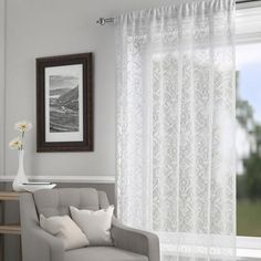 Dunelm Alice Damask Design White Fabric Lace Net Curtain