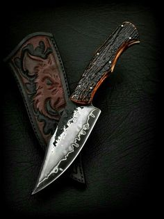 Wild Boar Carved leather knife Sheath
