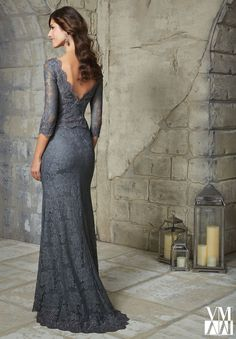 71229 Evening Gowns / Dresses Beaded Appliques on Allover Lace