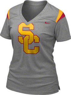 USC Trojans Women's Dark Grey Heather Nike Football Replica T-Shirt #usc #trojans #losangeles