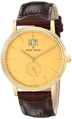 Claude Bernard Mens 64010 37J DI Classic Gents Analog Display Swiss Quartz Brown Watch *** Check this awesome product by going to the link at the image.