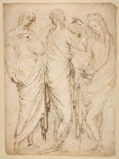 Three Standing Figures (recto); Seated Woman and a Male Hermit in Half-length (verso) 1435-38.   Stefano da Verona