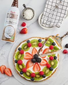 New year, new me. Get a healthy start to your year with this fruit pizza! 🍓 Whipped Topping, Whipped Cream, Avocado Toast, Pizza, Coconut, Favorite Recipes, Fruit, Breakfast, Healthy