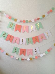 Happy Birthday Banner - Gold Foil Birthday Banner- Mint Coral Light Pink and White