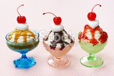 Vintage Ice Cream Dishes | Ice Cream Sundaes in Vintage Glass Dishes Royalty Free Stock Photo
