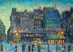 Maximilien Luce   Paris, busy street at night