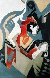 """María Blanchard. """"Composição com mancha vermelha"""", 1916  Óleo sobre tela, 100 x 65 cm  Colecção BBVA, Madrid"""