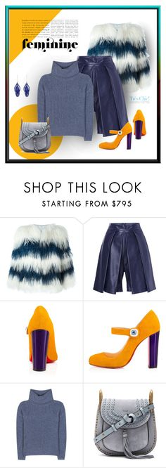 """""""Mellow Yellow"""" by michelletheaflack ❤ liked on Polyvore featuring MSGM, Christian Louboutin, Loro Piana, Chloé, Aurélie Bidermann, colorful and styleinsider"""