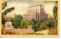 Times Newspaper Building-Civic Center-Los Angeles-California-Vintage Postcard