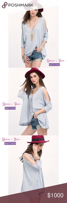 "Gray Hollow 3/4 V Neck Top Gray Hollow Three Quarter V Neck T-shirt. Fabric has some stretch. Material is cotton.  Measurement: Length: XS:68cm, S:69cm, M:70cm, L:71cm Sleeve Length: XS:48.5cm, S:49.5cm, M:50.5cm, L:51.5cm Bust: XS:150cm, S:154cm, M:158cm, L:162cm  Feel free to submit your offer thru the   ""Offer"" button NO Price discussion in the comment NO Lowballing NO Trades Tops"