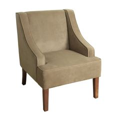Fabric Upholste Wooden Accent Chair with Swooping Arms Tan/Brown - Benzara Tufted Accent Chair, Upholstered Chairs, Accent Chairs, Boho Accent Chair, Eames Chairs, Cool Chairs, Side Chairs, Round Storage Ottoman, Italian Bedroom Furniture