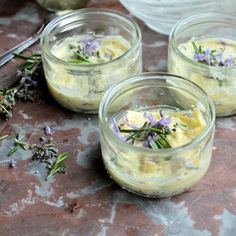 Floral and Flavoured Butter: Rosemary Flower Butter with Grana Padano Cheese.